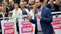 Le chef de file des Démocrates de Suède Jimmie Åkesson lors d'un meeting à Landskrona le 31 août 2018 [Johan NILSSON / TT News Agency/AFP/Archives]