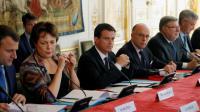 Le Premier ministre Manuel Valls lors d'une réunion à Matignon avec les pétroliers et les transporteurs le 28 mai 2016 à Paris [FRANCOIS GUILLOT / AFP]