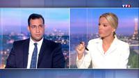Capture d'écran réalisée le 27 juillet 2018 de l'interview enregistrée et diffusée au 20H00 de TF1 montrant Alexandre Benalla, l'ex-collaborateur du président Emmanuel Macron répondant aux questions de la journaliste Audrea Crespo-Mara [- / TF1/AFP]