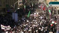 Capture d'écran d'une chaîne de télévision iranienne montrant un rassemblement de soutien au régime, le 3 janvier 2018 dans la ville d'Ahvaz. [HO / IRINN/AFP]