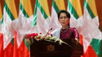 Aung San Suu Kyi à Naypyidaw, le 19 septembre 2017 [Ye Aung THU / AFP]