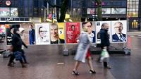 Affiches de campagne pour le scrutin présidentiel à Helsinki, en Finlande, le 27 janvier 2018 [Antti Aimo-Koivisto / Lehtikuva/AFP]