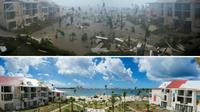 Hôtel Mercure à Marigot sur l'île de Saint-Martin, après le passage d'Irma le 6 septembre 2017 (en haut) et le 28 février 2018 (en bas) pendant la recontruction [LIONEL CHAMOISEAU / AFP/Archives]