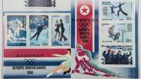 Collection de timbres photographiée le 17 novembre 2017 célébrant les différentes participations passées des nord-coréens aux Jeux Olympiques  [Ed JONES / AFP/Archives]