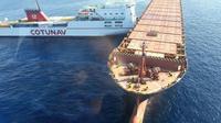 Image fournie par la gendarmerie nationale de la collision des navires au large de la Corse le 7 octobre 2018 [Stanislas GENTIEN / GENDARMERIE NATIONALE/AFP]