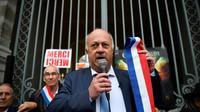 Daniel Cueff, maire de Langouët, devant le tribunal administratif de Rennes le 14 octobre 2019 [Damien MEYER / AFP]