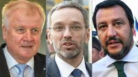De gauche à droite, le ministre de l'Intérieur allemand Horst Seehofer (à Munich le 13 juin 2018), le ministre de l'Intérieur autrichien Herbert Kickl (à Vienne le 12 avril 2018) et  le ministre de l'Intérieur italien Matteo Salvini (le 1er juin 2018 à Rome), montage réalisé le 13 juin 2018 [CHRISTOF STACHE, HERBERT NEUBAUER, Andreas SOLARO / AFP/Archives]
