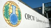 Entrée du siège de l'Organisation pour l'interdiction des armes chimiques, l'OIAC, (Organisation for the prohibition of chemical weapons, OPCW), à La Haye, le 20 avril 2017 [JOHN THYS / AFP/Archives]