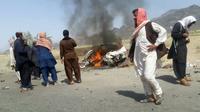 Le véhicule à bord duquel était supposé se trouver le mollah Mansour, frappé par un drone le 21 mai 2016 à Ahmd Wal [- / AFP]
