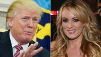 Le président américain Donald Trump, le 14 février 2018 à Washington, et l'actrice porno Stormy Daniels, le 4 février 2018 à Las Vegas (Nevada) [MANDEL NGAN, Ethan Miller / GETTY IMAGES NORTH AMERICA/AFP/Archives]