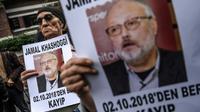 Des portraits du journaliste saoudien Jamal Khashoggi lors d'une manifestation devant le consulat saoudien, le 9 octobre 2018 à Istanbul, en Turquie [OZAN KOSE / AFP/Archives]