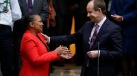 Passation de pouvoir entre Christiane Taubira et Jean-Jacques Urvoas à Paris le 27 janvier 2016 [KENZO TRIBOUILLARD / AFP]