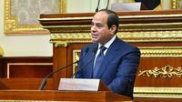 Photo diffusée le 2 juin 2018 par la présidence égyptienne montrant le président Abdel Fattah al-Sissi lors de sa prestation de serment au Parlement au Caire après sa réélection en mars [- / Présidence égyptienne/AFP]