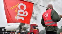 Grève des routiers contre la réforme du Code du travail, le 25 septembre 2017 à Donges [LOIC VENANCE / AFP/Archives]