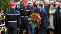 François Hollande dépose une gerbe de fleurs sur la tombe de François Mitterrand le 8 janvier 20123 à Jarnac [PIERRE ANDRIEU / AFP/Archives]
