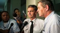 Les pilotes Bruno Odos et Pascal Fauret accusés d'avoir transporté de la cocaïne de la République dominicaine à la France, le 15 août 2015 à Saint-Domingue [ERIKA SANTELICES / AFP/Archives]