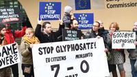 Manifestation contre l'utilisation du glyphosate devant la Commission européenne, le 9 novembre 2017 à Bruxelles [EMMANUEL DUNAND / AFP/Archives]
