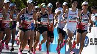 """Concurrents du """"Marathon Grand Championship"""", épreuve test en vue des JO de Tokyo 2020, le 15 septembre 2019 à Tokyo    [CHARLY TRIBALLEAU / AFP/Archives]"""