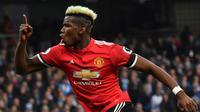 Le milieu de terrain de Manchester United Paul Pogba auteur d'un doublé lor sde la victoire face à Manchester City le 7 avril 2018 [Ben STANSALL / AFP]