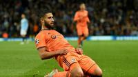 Le capitaine de Lyon Nabil Fekir après son but contre Manchester City en Ligue des champions, le 19 septembre 2018 à l'Etihad Stadium [Oli SCARFF                           / AFP]