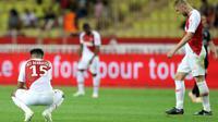 La déception des joueurs de Monaco après le match nul concédé face à Nîmes, le 21 septembre 2018 au stade Louis-II [VALERY HACHE / AFP]