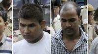 Montage photos du 24 septembre 2013 de (g-d) Akshay Thakur, Vinay Sharma, Mukesh Singh et Pawan Gupta, quatre hommes accusés de viol en réunion en 2012 à New Delhi, en Inde [ / AFP/Archives]
