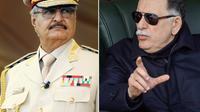 Photo montage constitué d'archives du Premier ministre du gouvernement libyen d'union nationale Fayez al-Sarraj (D), le 3 janvier 2019 à Tripoli, et de l'homme fort de l'est libyen, le maréchal Khalifa Haftar, le 7 mai 2018 à Benghazi [Abdullah DOMA, Mahmud TURKIA / AFP/Archives]