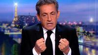 Capture d'écran de l'ex-président français Nicolas Sarkozy lors de son passage sur le plateau de TF1 le 22 mas 2018 [Handout / TF1/AFP]