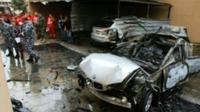 Photo du véhicule calciné à la suite d'un attentat à la voiture piégée le 14 janvier 2018 dans la ville de Saïda, au Liban [ / AFP]