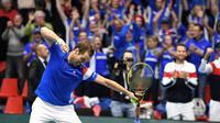 Richard Gasquet vient de s'imposer contre le Néerlandais Robin Haase au 1er tour de la Coupe Davis, le 2 février 2018 à Albertville   [JEAN-PIERRE CLATOT / AFP]