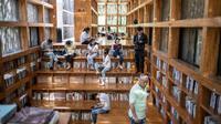La bibliothèque Liyuan dans une banlieue rurale de Pékin, le 15 septembre 2018 [Fred DUFOUR / AFP]