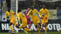 Les joueurs de Pau se sont offerts le scalp de Bordeaux grâce notamment à un but de leur capitaine Name Moustapha en Coupe de France au stade du Hameau, le 16 janvier 2020 [GAIZKA IROZ / AFP]