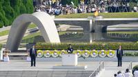 Le Premier ministre japonais Shinzo Abe prononce un discours au mémorial pour la paix d'Hiroshima, le 6 août 2013 [Toru Yamanaka / AFP/Archives]