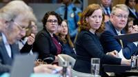 Jennifer G Newstead, la représentante des Etats-Unis devant la Cour internationale de Justice, à la Haye, le 27 août 2018 [Jerry Lampen / ANP/AFP]
