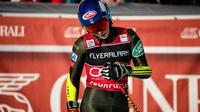 L'Américaine Mikaela Shiffrin dans l'aire d'arrivée du slalom géant de Courchevel, le 17 décembre 2019 [JEFF PACHOUD / AFP/Archives]