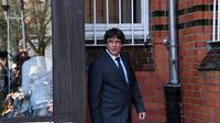 Le leader catalan Carles Puigdemont quitte la prison de Neumünster, le 6 avril 2017 en Allemagne [Carsten Rehder / DPA/AFP]