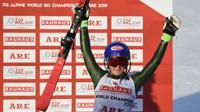 Mikaela Shiffrin reine incontestée du slalom des Mondiaux d'Are, le 16 février 2019 [Jonathan NACKSTRAND / AFP]