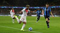 L'attaquant de Monaco Moussa Sylla (g) contre Bruges en Ligue des champions, le 24 octobre 2018 à Bruges   [Thomas SAMSON / AFP]