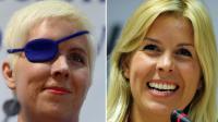 L'ancienne pilote espagnole de F1, Maria de Villota, avant (le 9 mars 2012) et après son accident lui ayahnt coûté l'oeil droit, le 11 octobre 2012 à Madrid  [Javier Soriano / AFP/Archives]