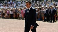 Le président Emmanuel Macron, lors des cérémonies de commémoration du 18 juin 1940, au Mont Valérien de Suresnes, le 18 juin 2017 [bertrand GUAY / POOL/AFP/Archives]