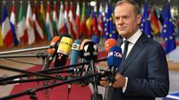 Le président du Conseil européen, Donald Tusk, répond aux questions des médias, le 14 décembre 2017 à Bruxelles [JOHN THYS                  / AFP]