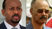 Ce montage du 29 juin 2018 montre le Premier ministre éthiopien Abiy Ahmed (à gauche) et le président érythréen Issaias Afwerki.  [Sumy SADRUNI, ASHRAF SHAZLY / AFP/Archives]