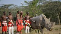 Des guerriers masaï posent dans la réserve kenyane d'Ol Peteja le 18 juin 2017 avec Sudan, le dernier rhinocéros blanc du Nord mâle, qui vient de mourir au Kenya  [TONY KARUMBA / AFP/Archives]