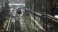 Le RER C bloqué à la station Javel à Paris, le 26 janvier 2018 [Ludovic MARIN / AFP/Archives]
