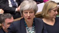 Theresa May, le 10 décembre 2018 devant la Chambre des Communes de Londres, lorsqu'elle a annoncé le report du vote sur l'accord de Brexit [HO / PRU/AFP]