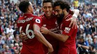 Roberto Firmino (c) buteur décisif pour Liverpool lors de la victoire à domicile face au PSG 3-2 le 18 septembre 2018 en 1re journée de C1 [Adrian DENNIS / AFP]