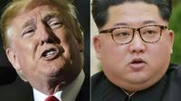 Montage photo réalisé le 10 mai 2018 du président américain Donald Trump et du dirigeant nord-coréen Kim Jong-Un (photo fournie par l'agence nord-coréenne KCNA le 21 avril 2018). [Mandel Ngan, - / AFP/Archives]