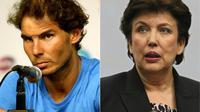 L'ancienne ministre de la Santé et des Sports Roselyne Bachelot (d) a été condamnée jeudi à Paris à 500 euros d'amende avec sursis pour avoir accusé le tennisman espagnol Rafael Nadal (g) de dopage, dans une émission télévisée l'an dernier. [DAVID GANNON, MATTHEW STOCKMAN / GETTY IMAGES NORTH AMERICA/AFP/Archives]