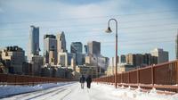 Des piétons bravent le froid à Minneapolis, le 29 janvier 2019 dans le Minnesota [STEPHEN MATUREN / AFP]
