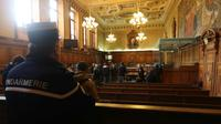 La salle d'audience de la cour d'assises spéciale qui juge la filière djihadiste Cannes-Torcy, le 20 avril 2017 [Jacques DEMARTHON / AFP/Archives]